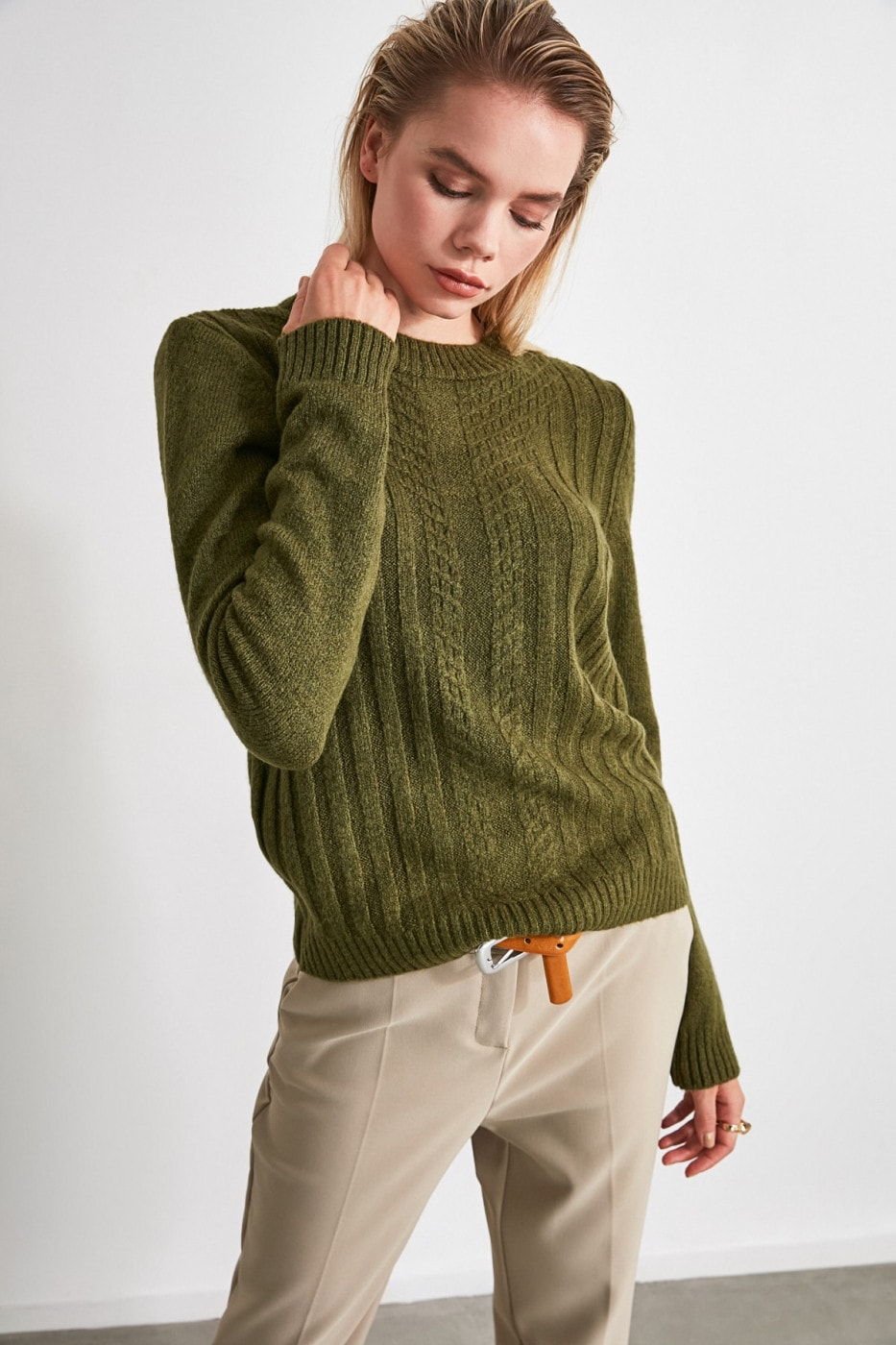 Trendyol Khaki Fitilli Knitted Detailed Knit Sweater