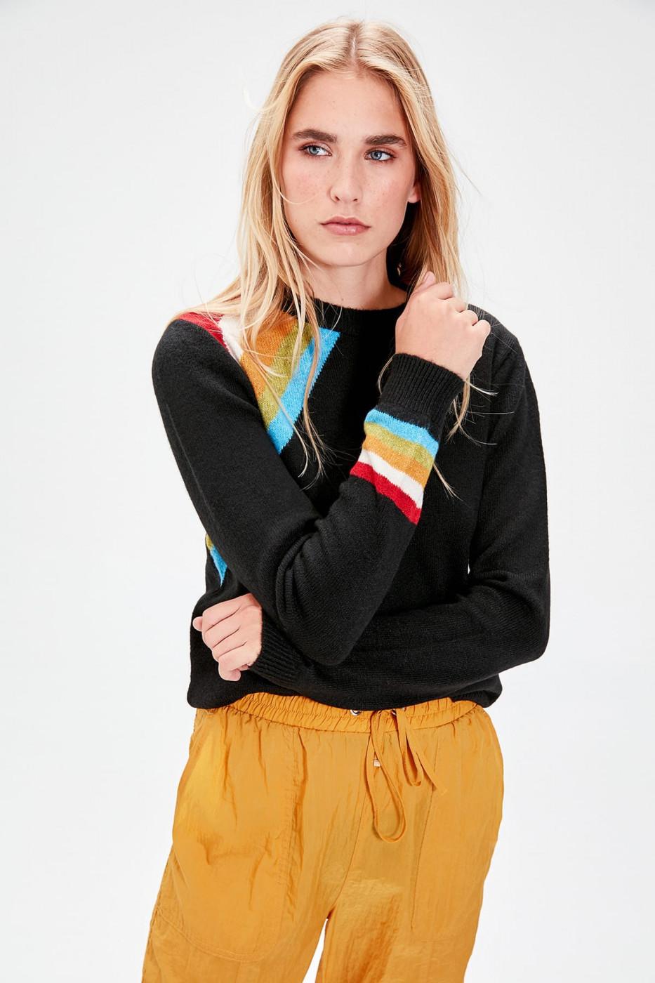 Trendyol Black Arm Ribbon Knitwear Sweater