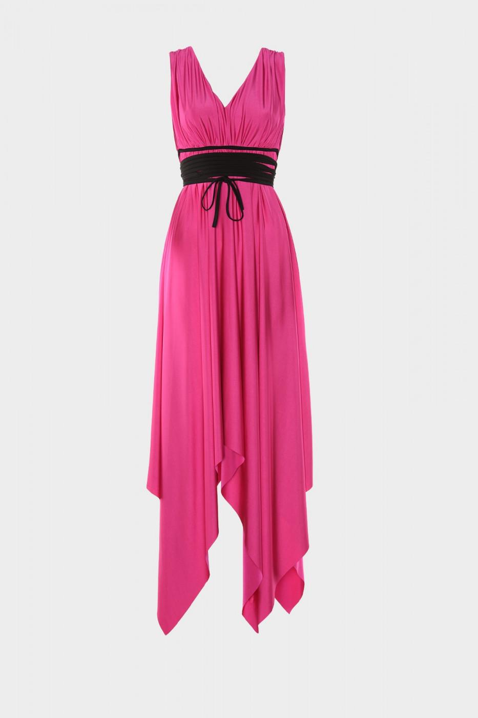 Trendyol Fuchya Belt Detailed Evening Dress & Graduation Dress