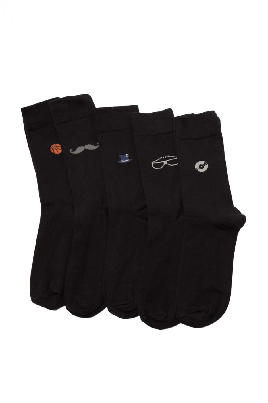 Trendyol Black Men 5 Pack Pattern Socket Socks