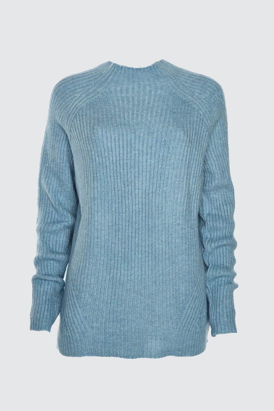 Trendyol Blue Fitilli Upright Collar KnitSweater
