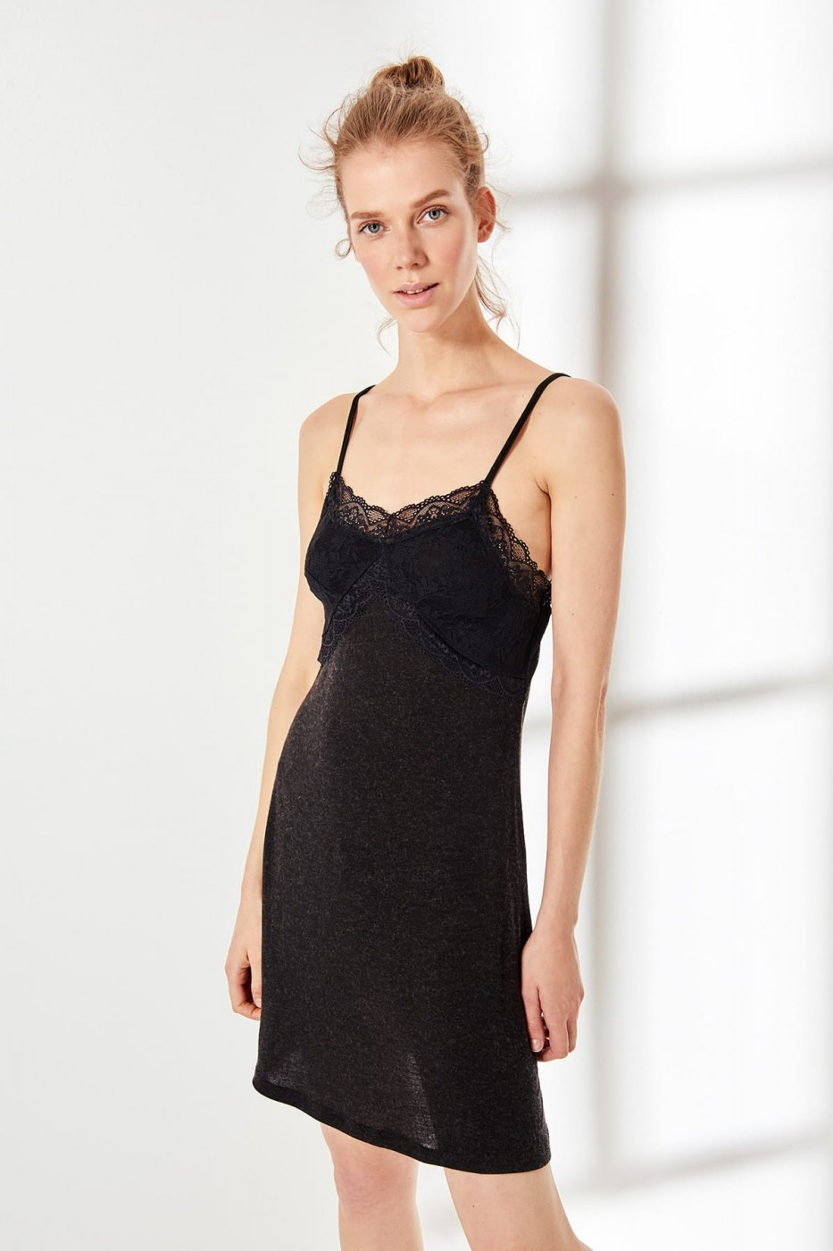 Trendyol Black ruched knitted nightgown dress