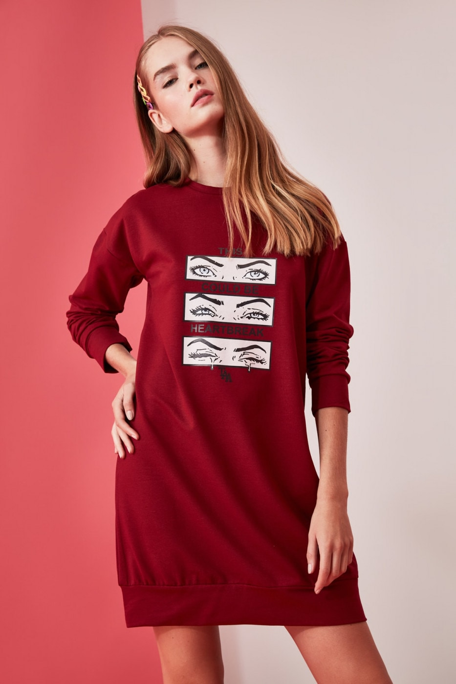 Trendyol Burgundy Printed Knitted Sweat Dress