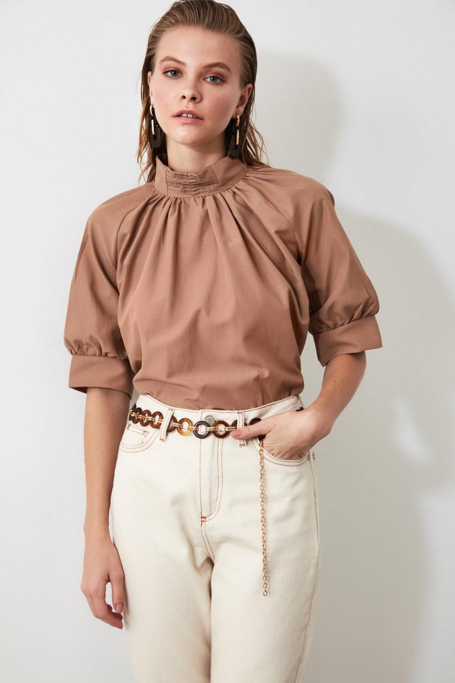 Trendyol Camel Pearl Detailed Blouse