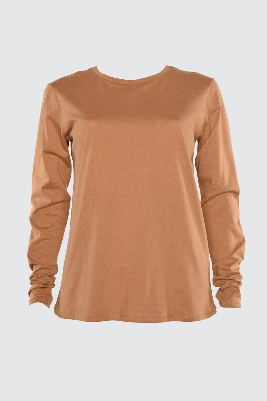 Trendyol Brown Long Sleeve Bike Collar Basic Knitted T-Shirt
