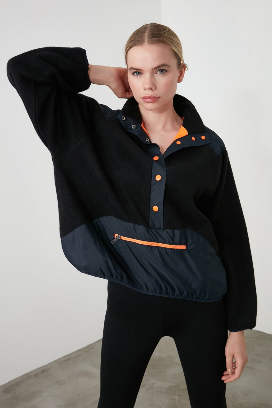 Trendyol Black Double Sided Sports Knitting Sweatshirt