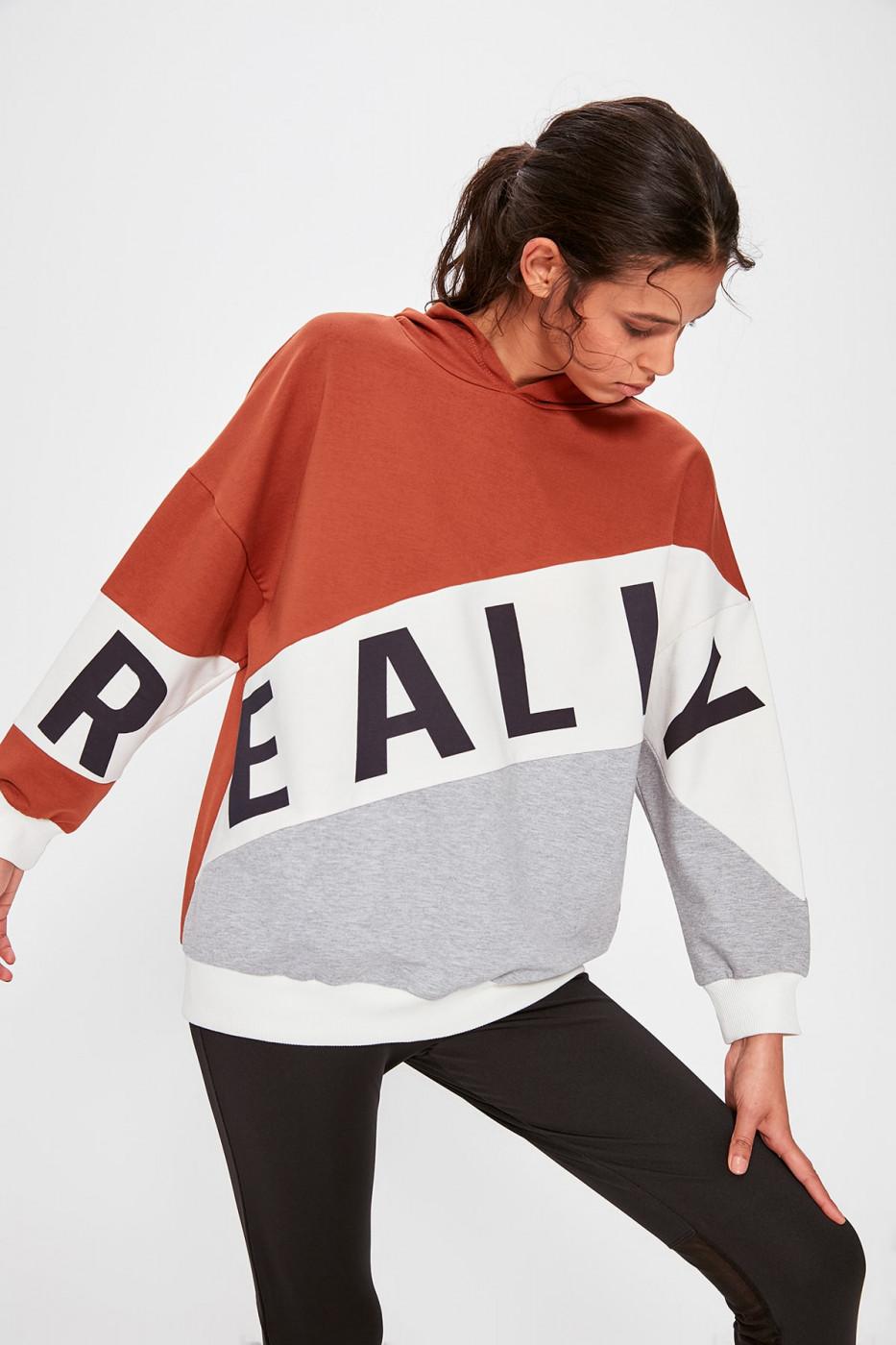 Trendyol Color Block Printed Sports Sweatshirt