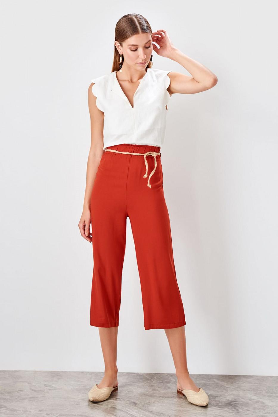 Trendyol Tile Mesh Belt Trousers