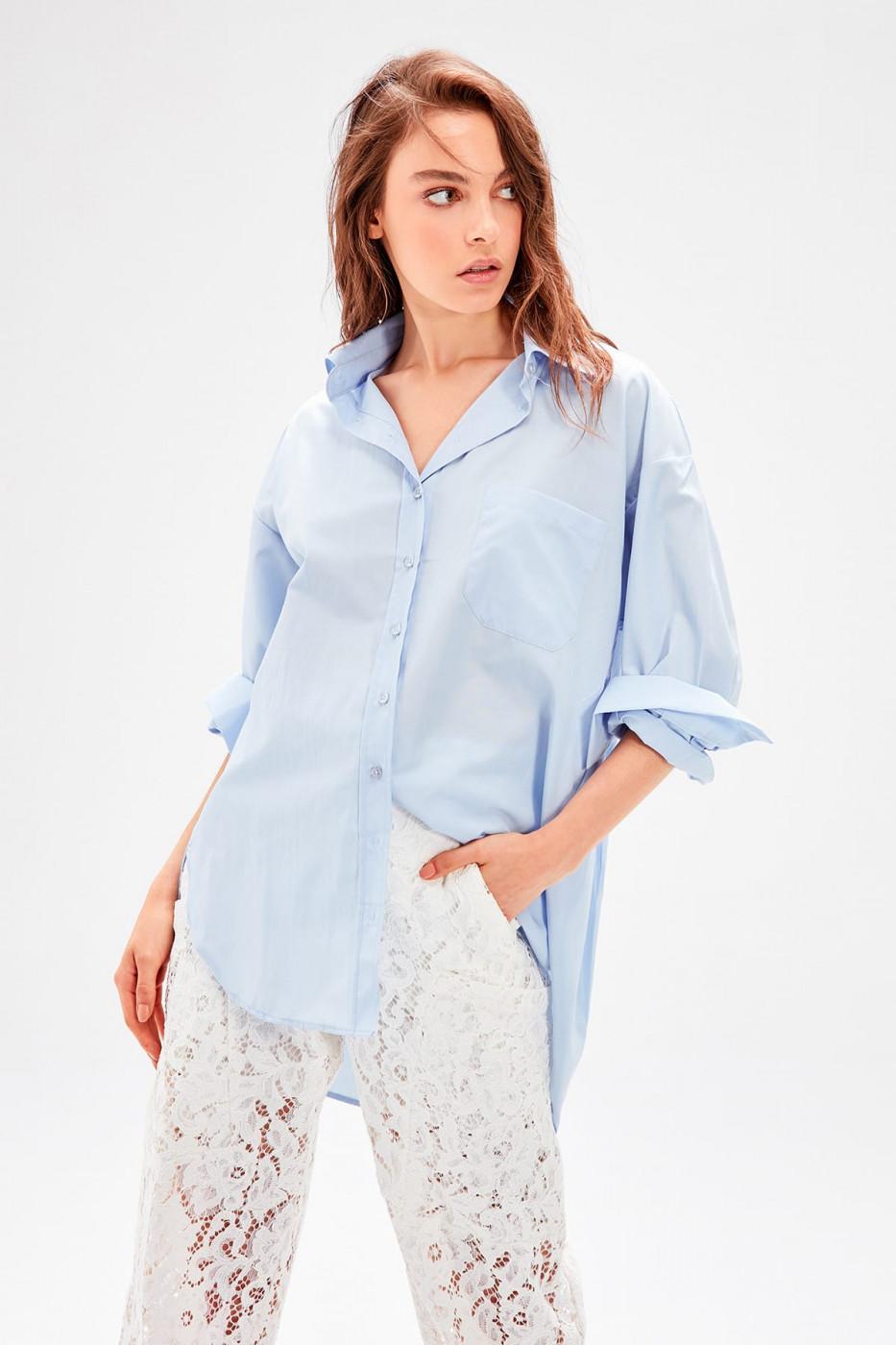 Trendyol Blue Boyfriend Shirt