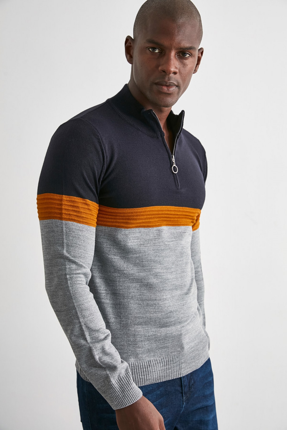 Trendyol Navy Men's Paneled Zip Knitwear Sweater