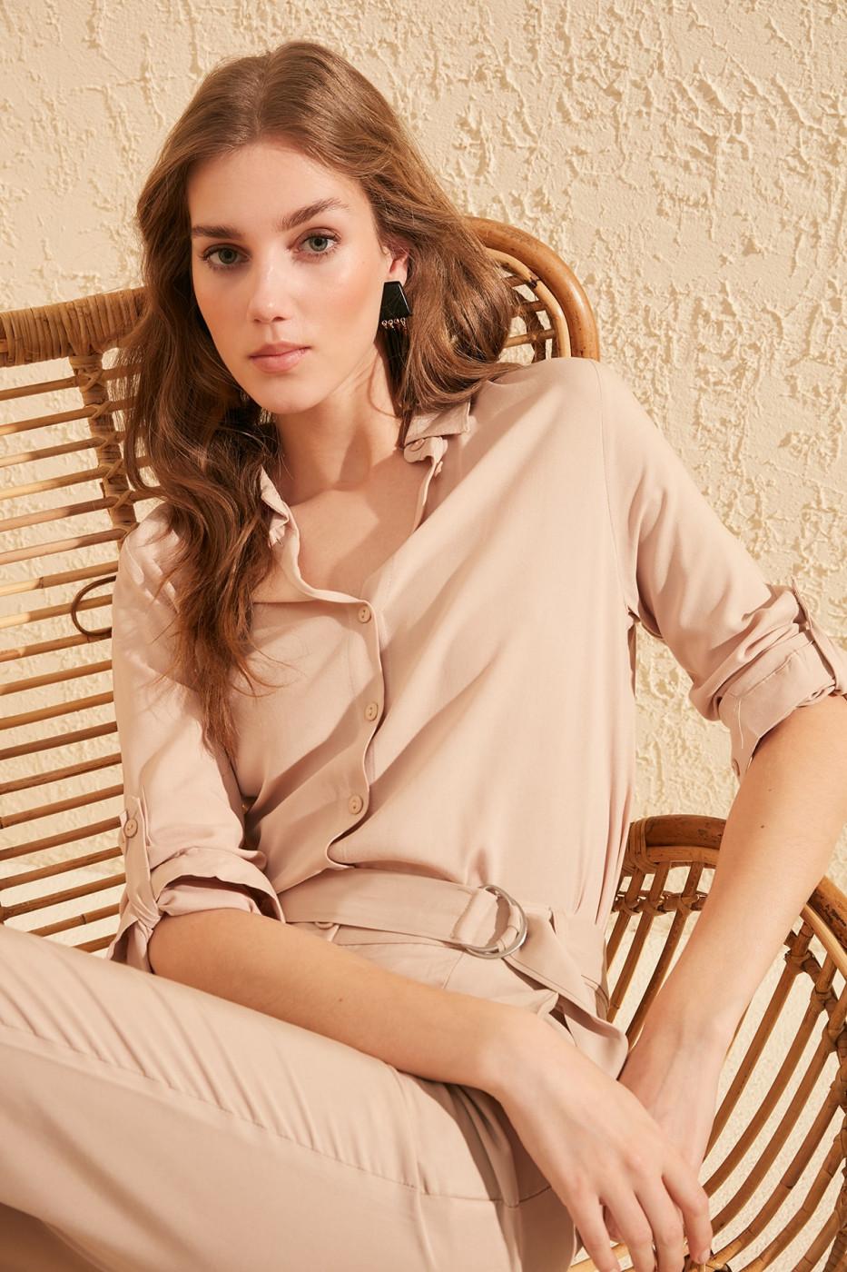 Trendyol Mink Basic Shirt