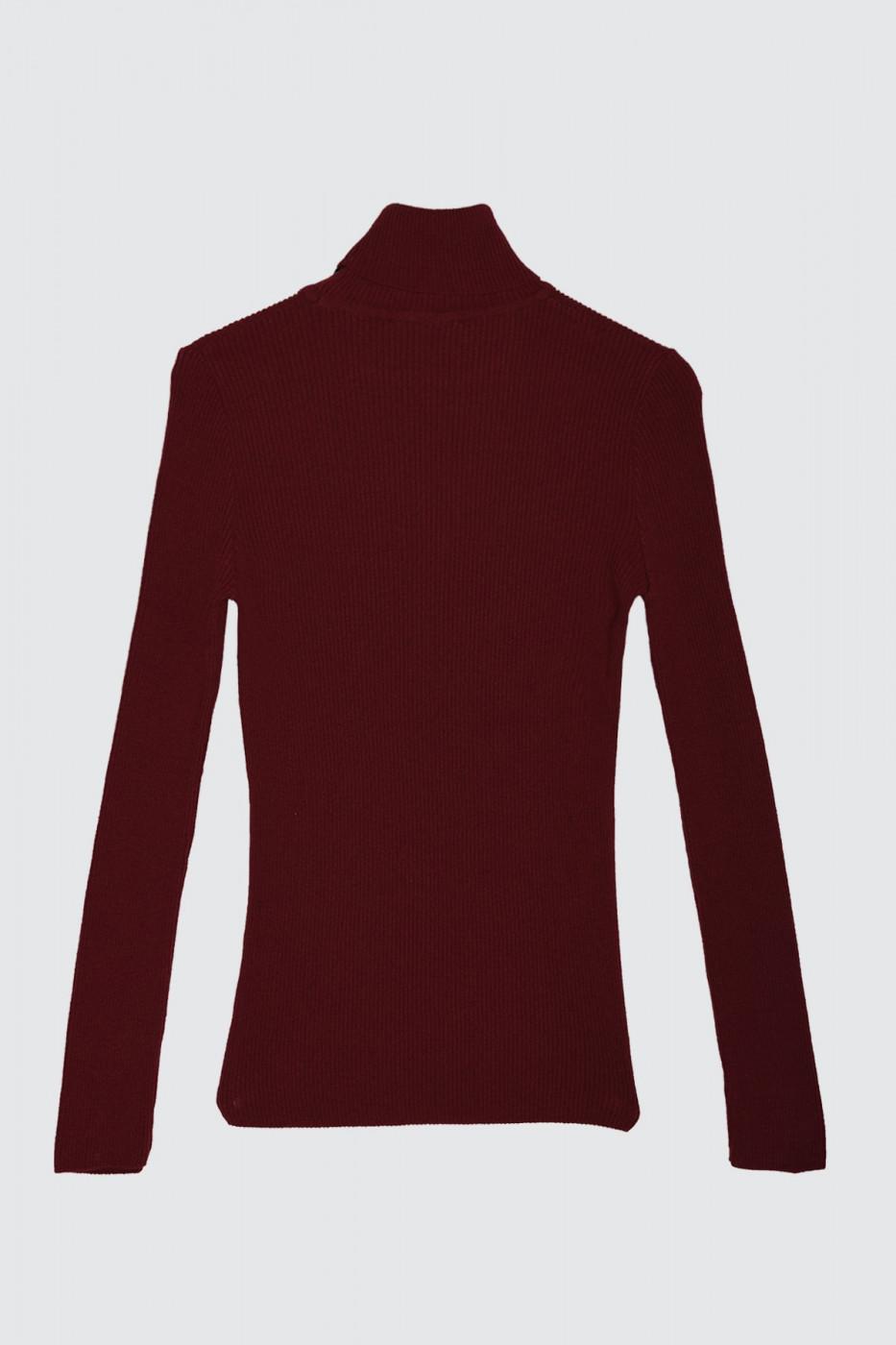 Trendyol Burgundy Men's Rubber Knitting Turtleneck KnitWear Sweater