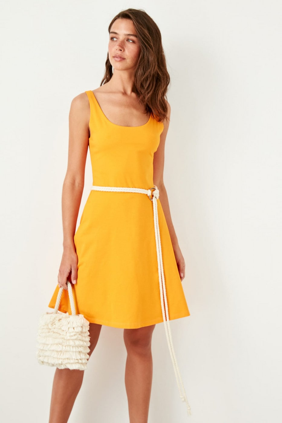 Trendyol Orange Strap Knitted Dress