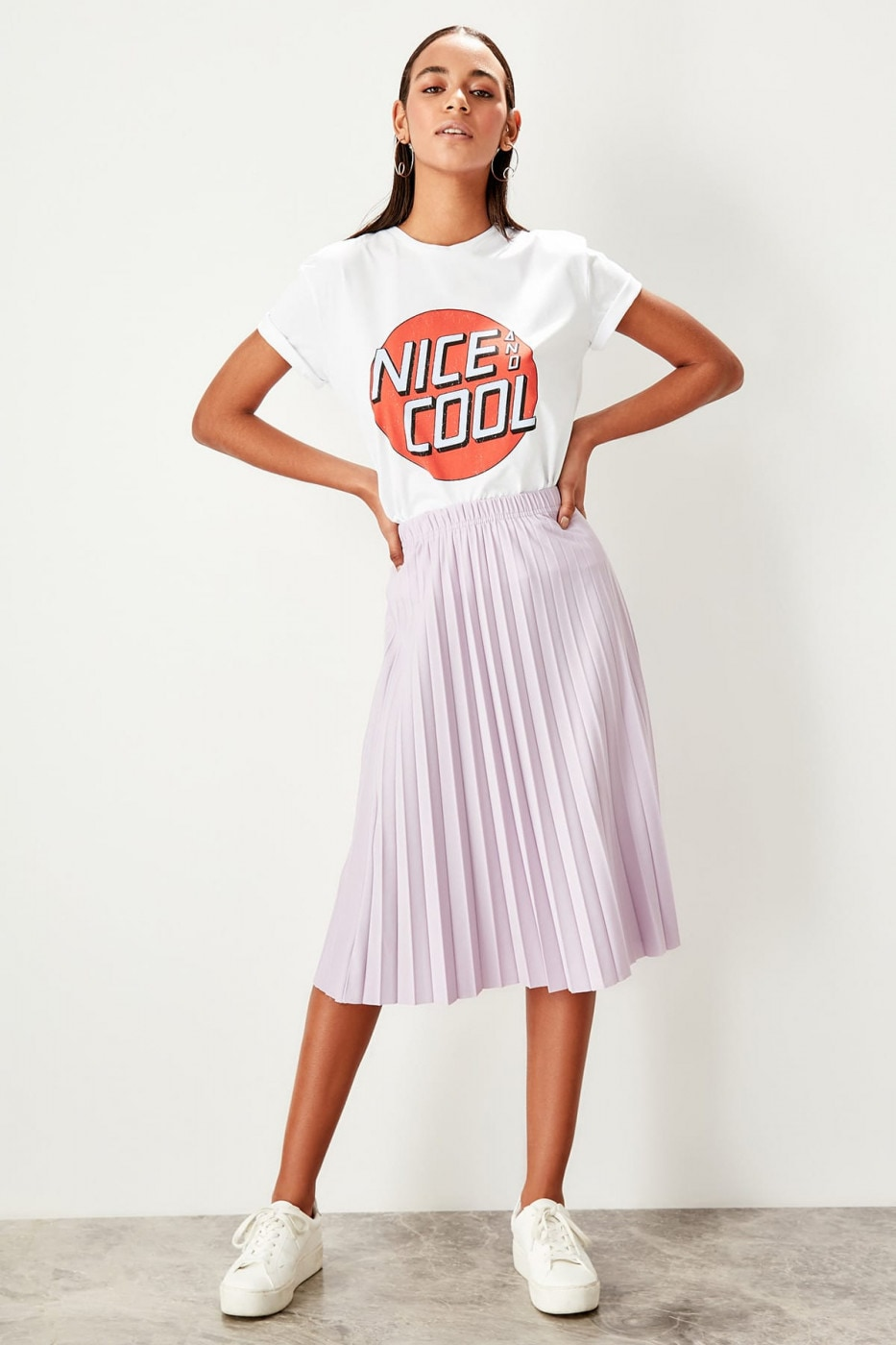 Trendyol Lilac Pleated knitted Skirt