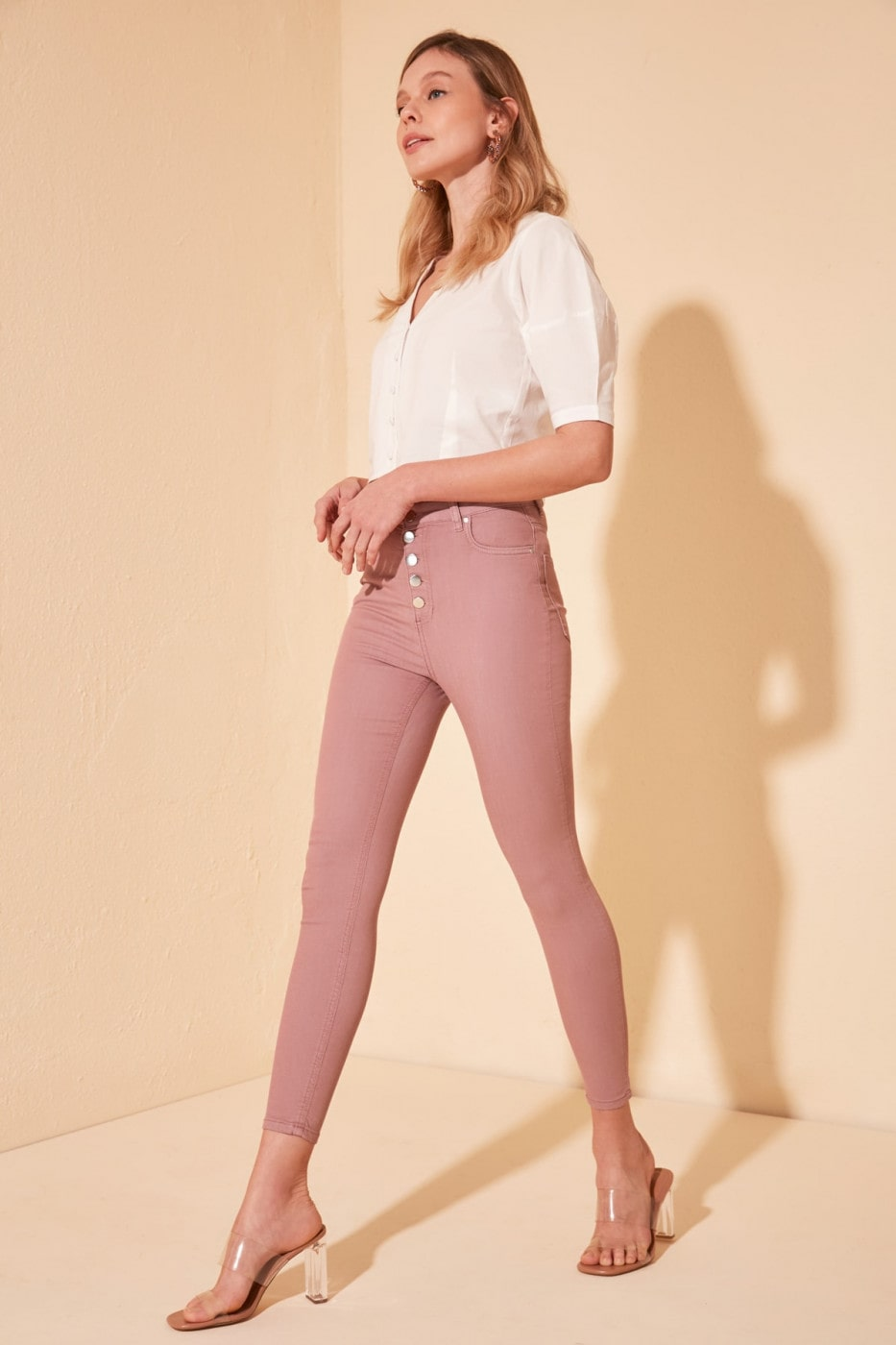 Trendyol Pink Front Button High Waist Skinny Jeans