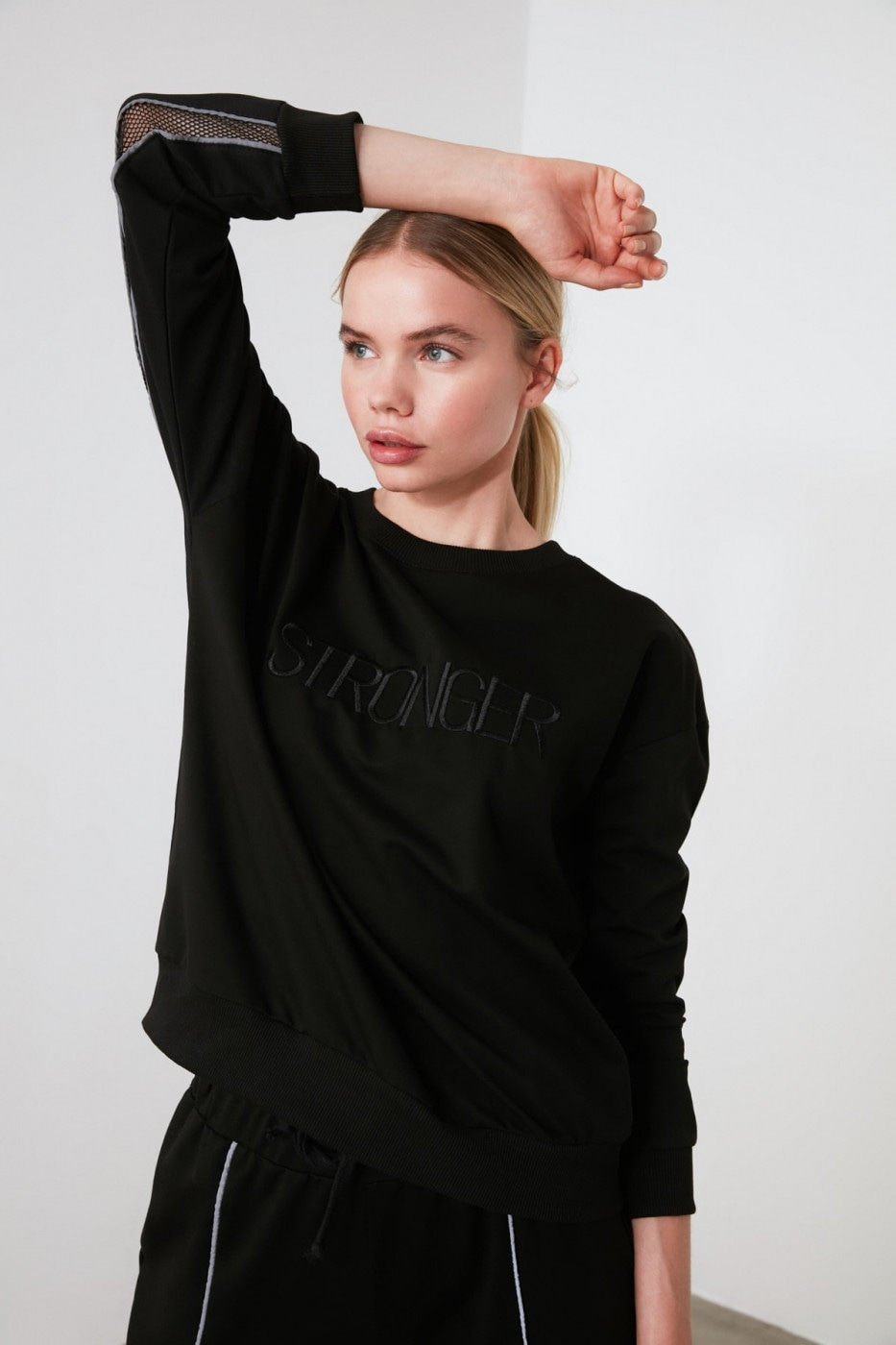 Trendyol Black File Striped Sports Sweatshirt