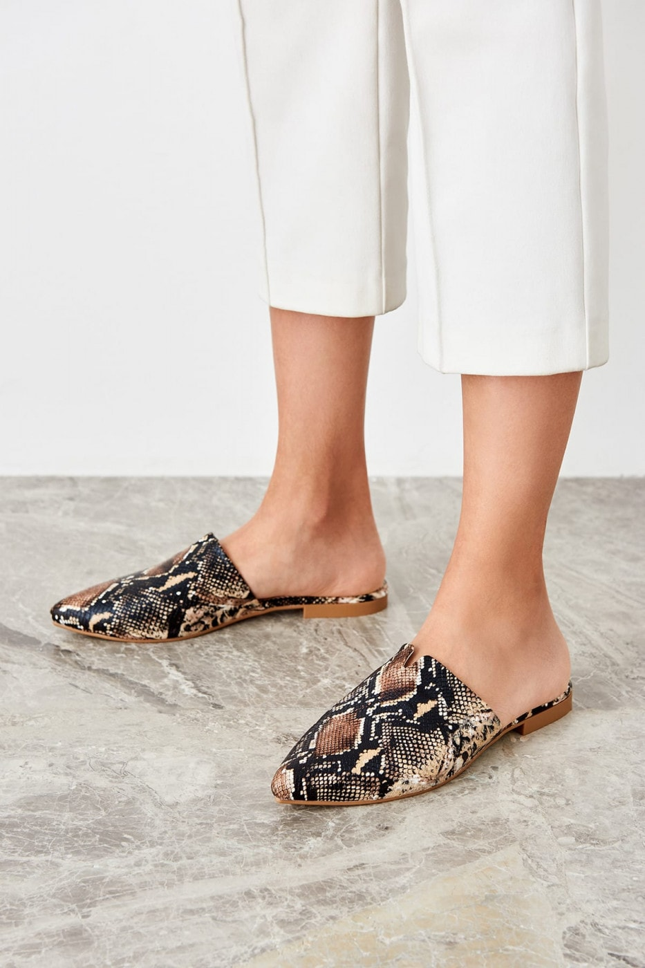 Trendyol Brown snake patterned women slipper