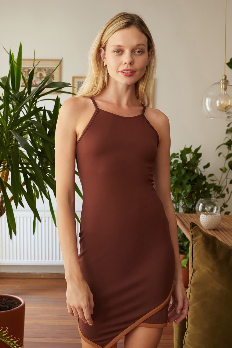 Trendyol Brown Strapk Knitted Dress
