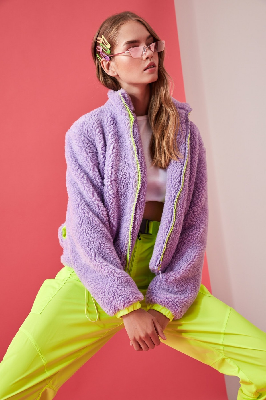 Trendyol Lila Plush Coat With Lila Colored Lining