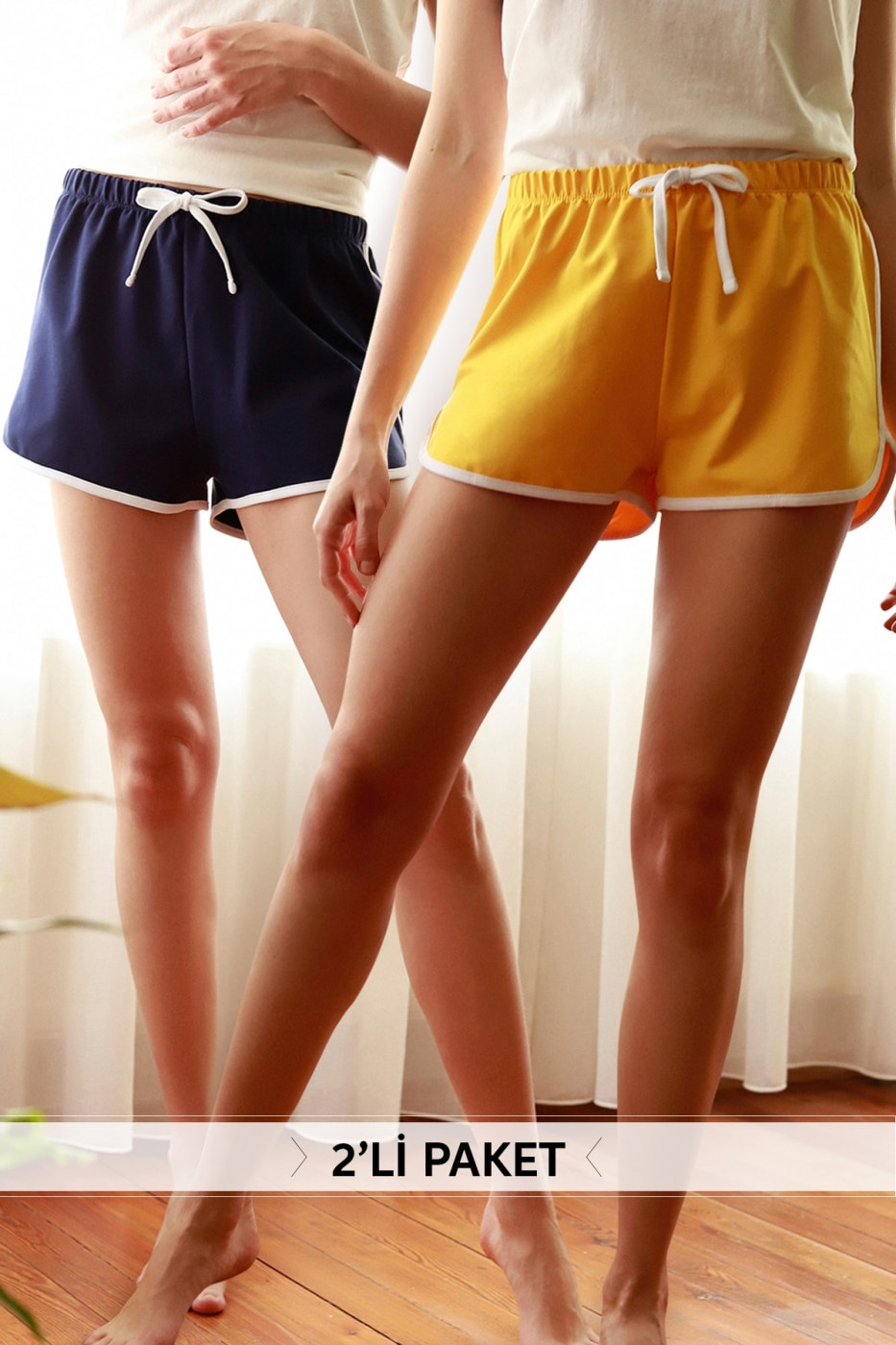 Trendyol Navy/ Yellow Biyeli 2-pair Shorts & Bermuda
