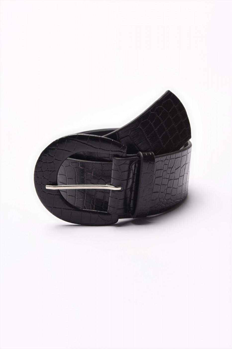 Trendyol Black Kroko Leather Belt