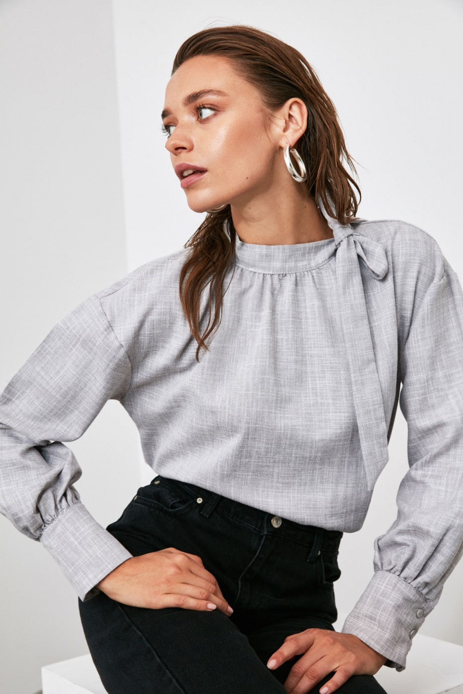 Trendyol Gray Collar ClampEd Blouse