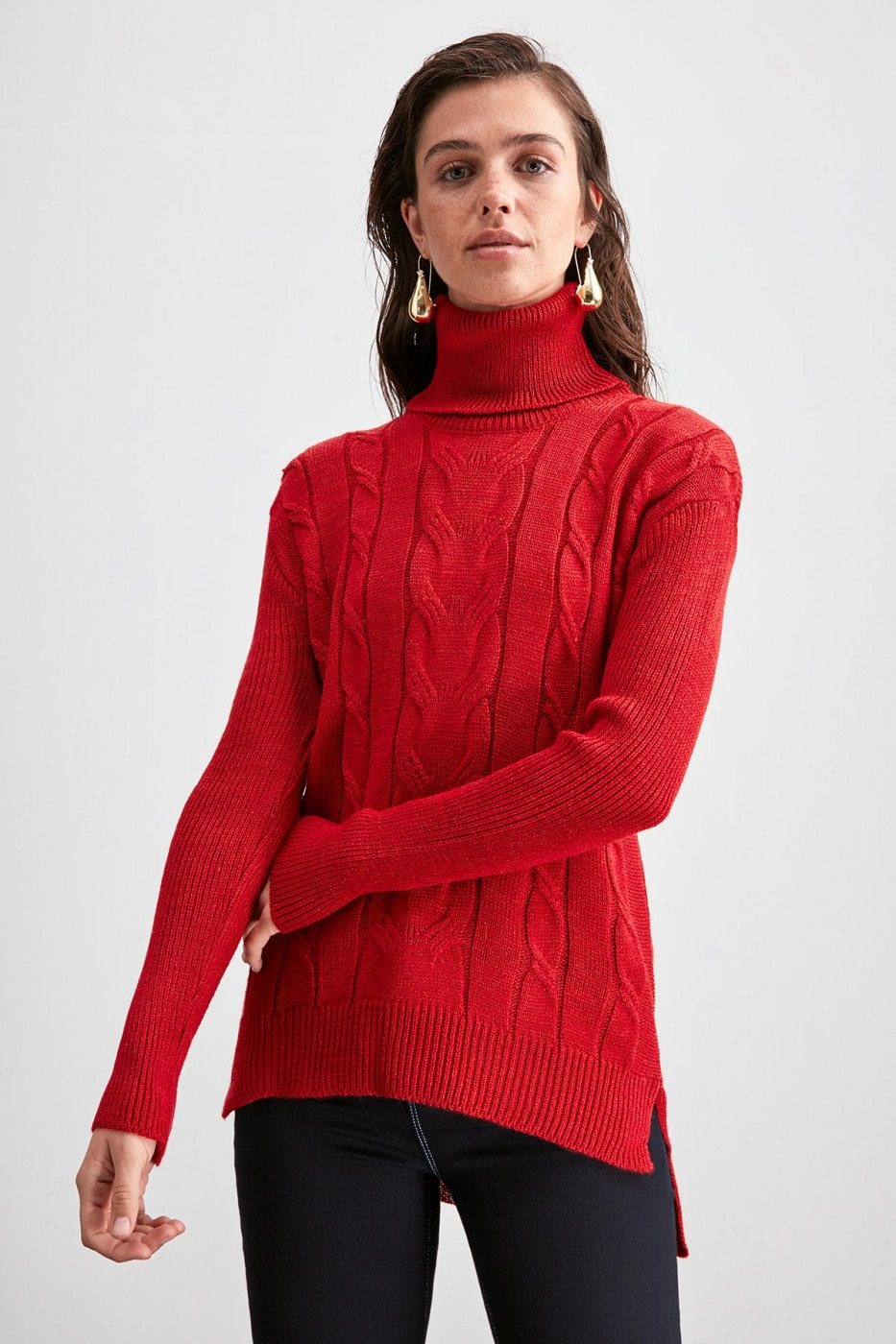 Trendyol Red KnitTed Detailed Knitwear Sweater