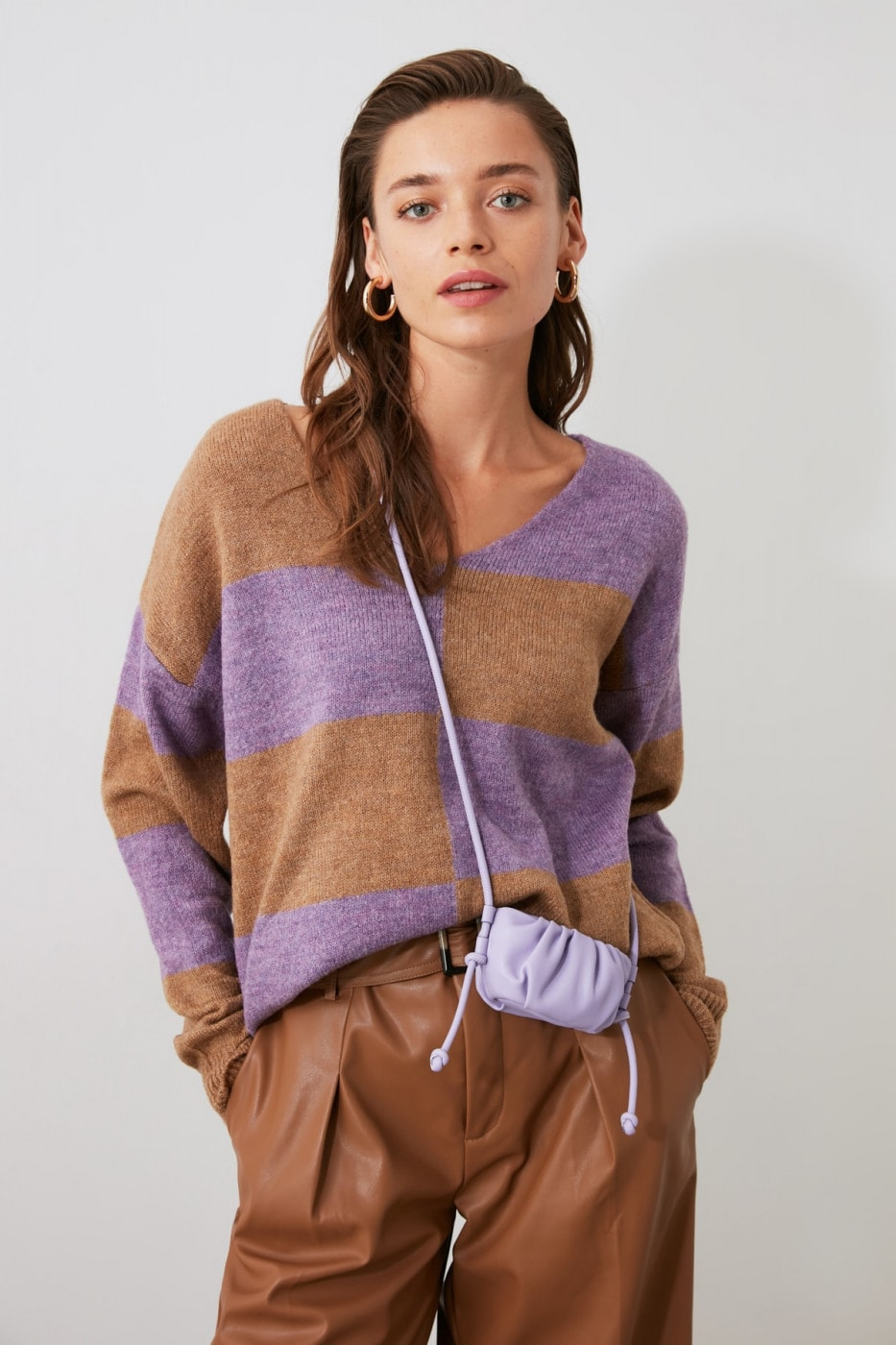 Trendyol Lila Color Block Bicycle Collar Knit Sweater
