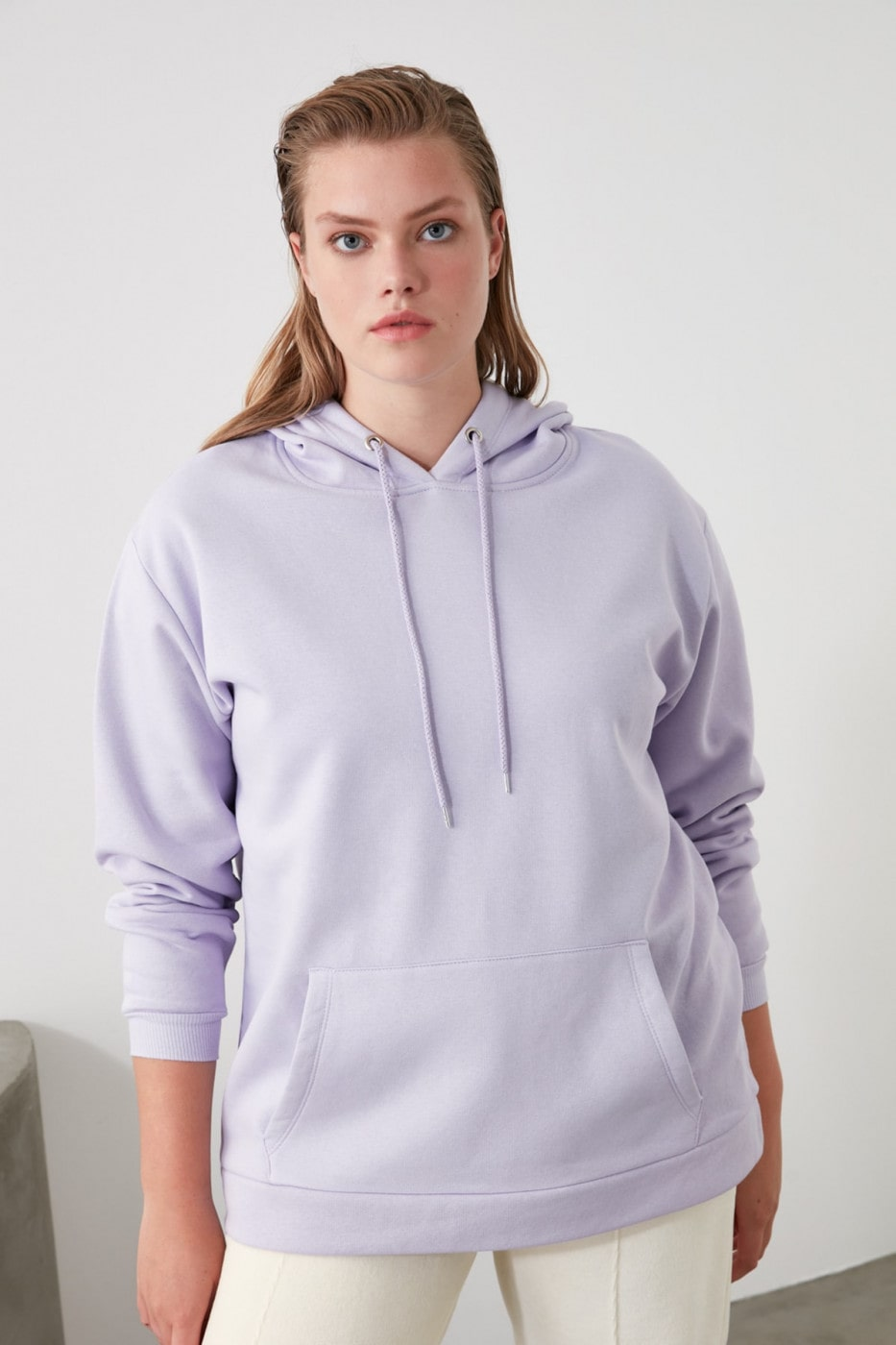 Trendyol Lila Kangaroo PocketHood Boyfriend Knitted Sweatshirt