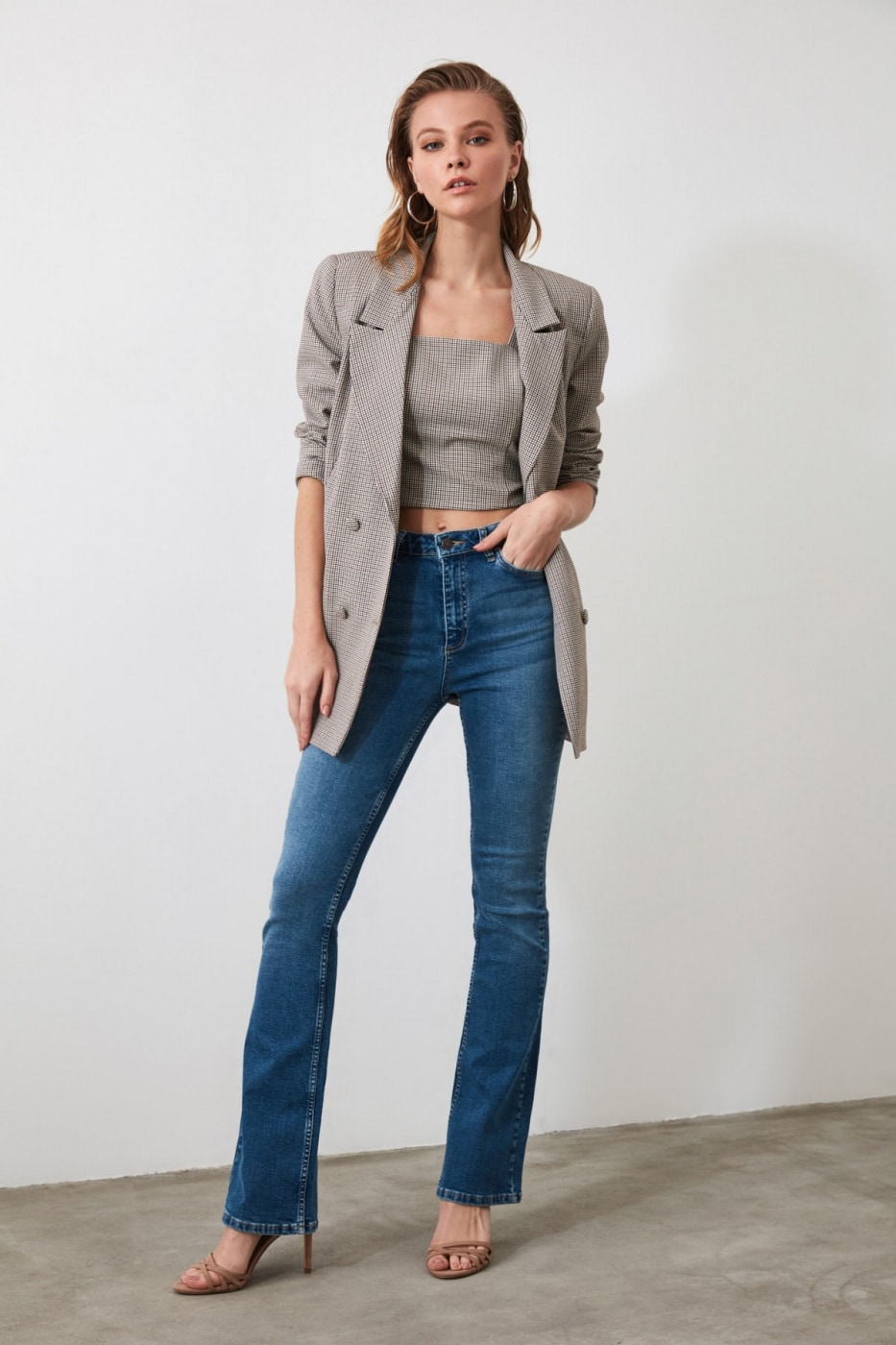 Trendyol Blue High Waist Micro Flare Jeans