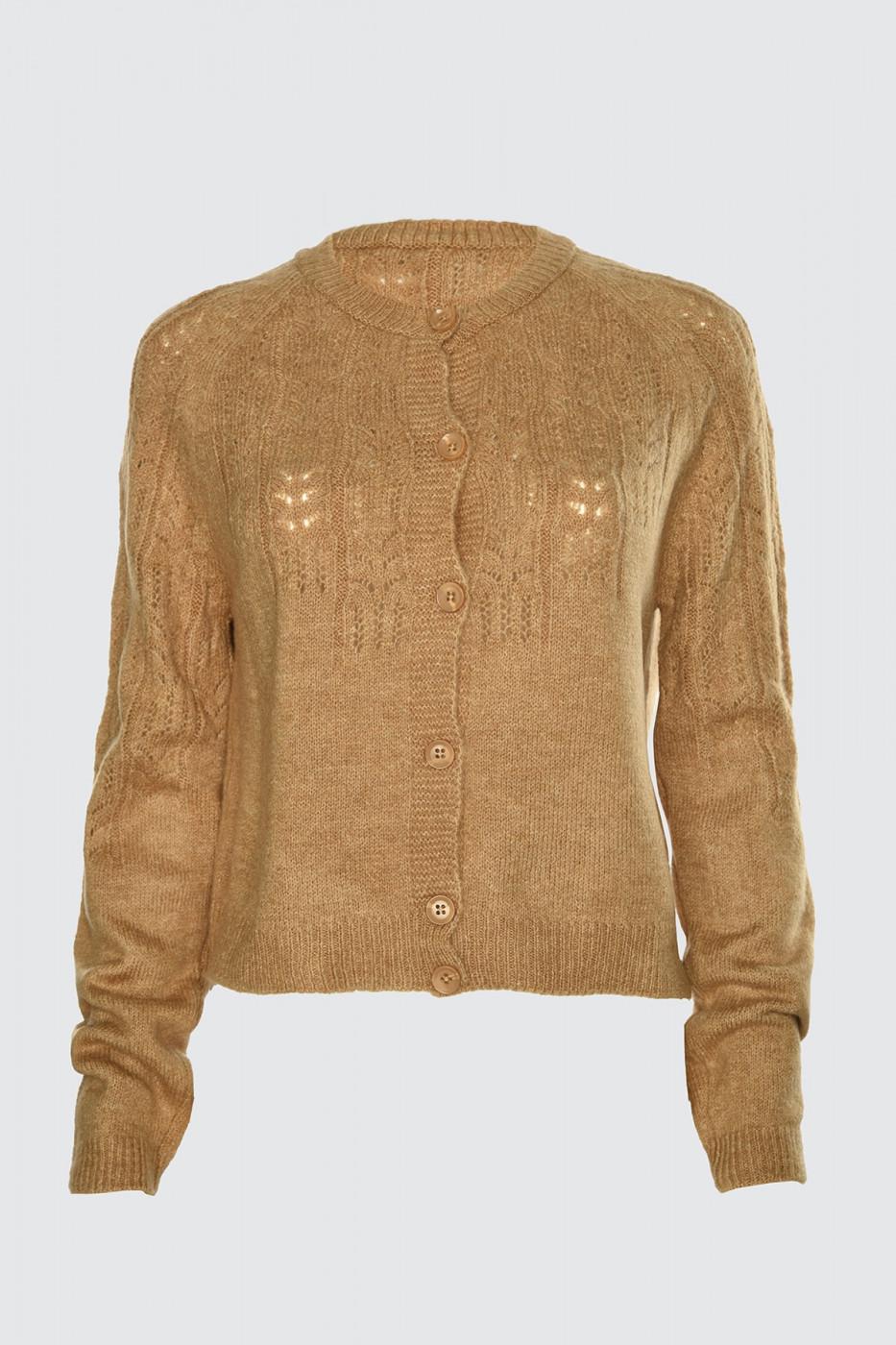 Trendyol Camel BlindkEd Knit Cardigan