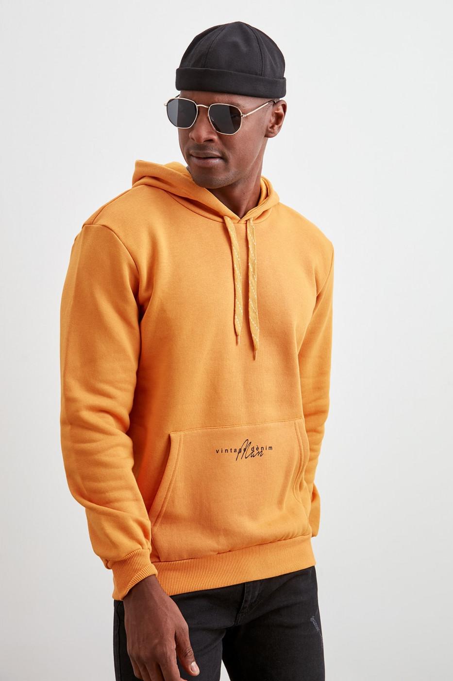 Trendyol Mustard Pocket PrintEd Sweatshirt