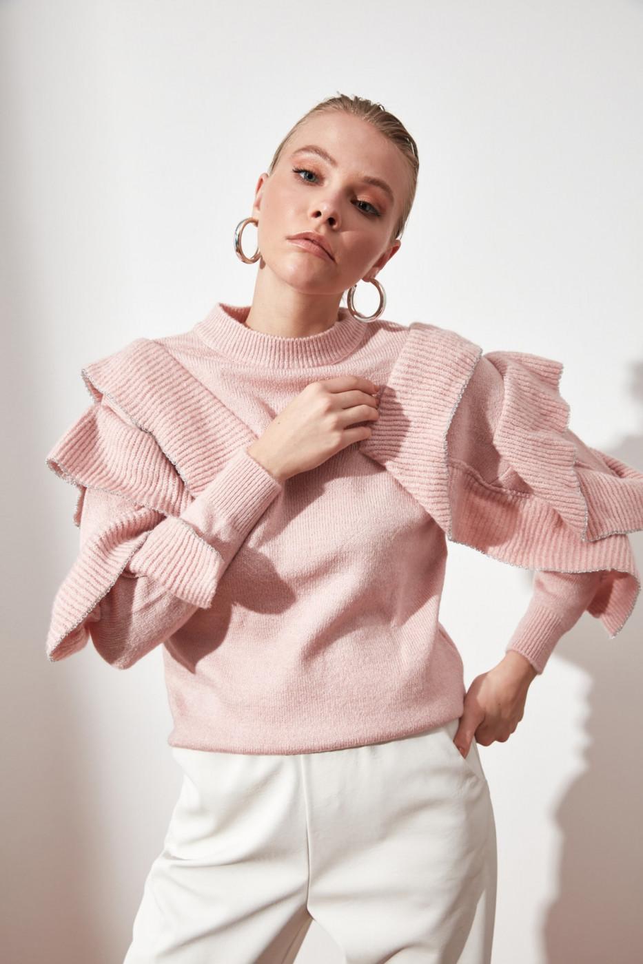 Trendyol Pink Flywheel Knitwear Sweater