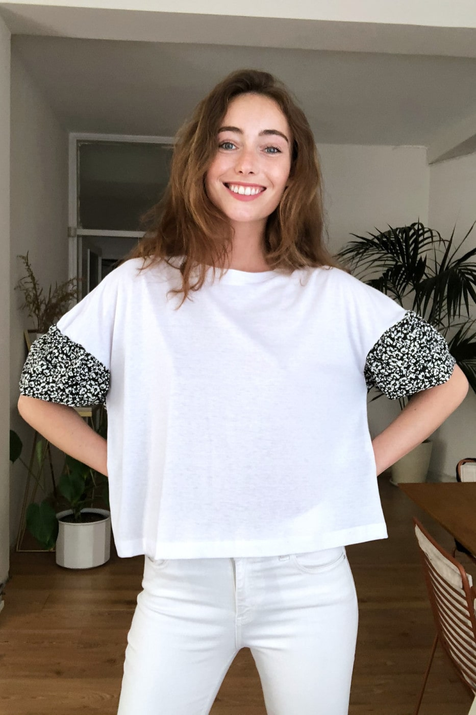 Trendyol White Arms Patterned Knitted Blouse
