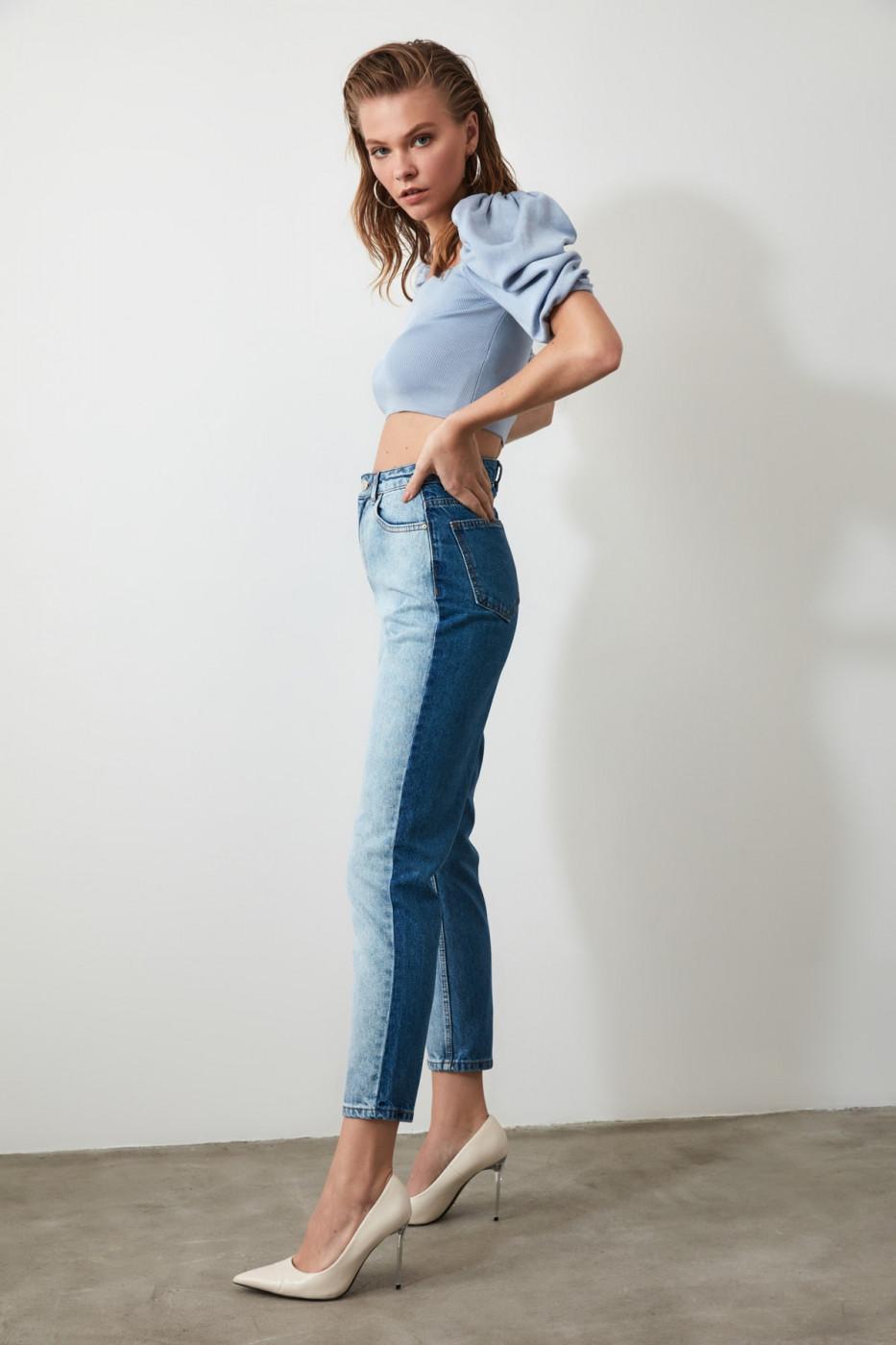 Trendyol Blue Block High Waist Mom Jeans