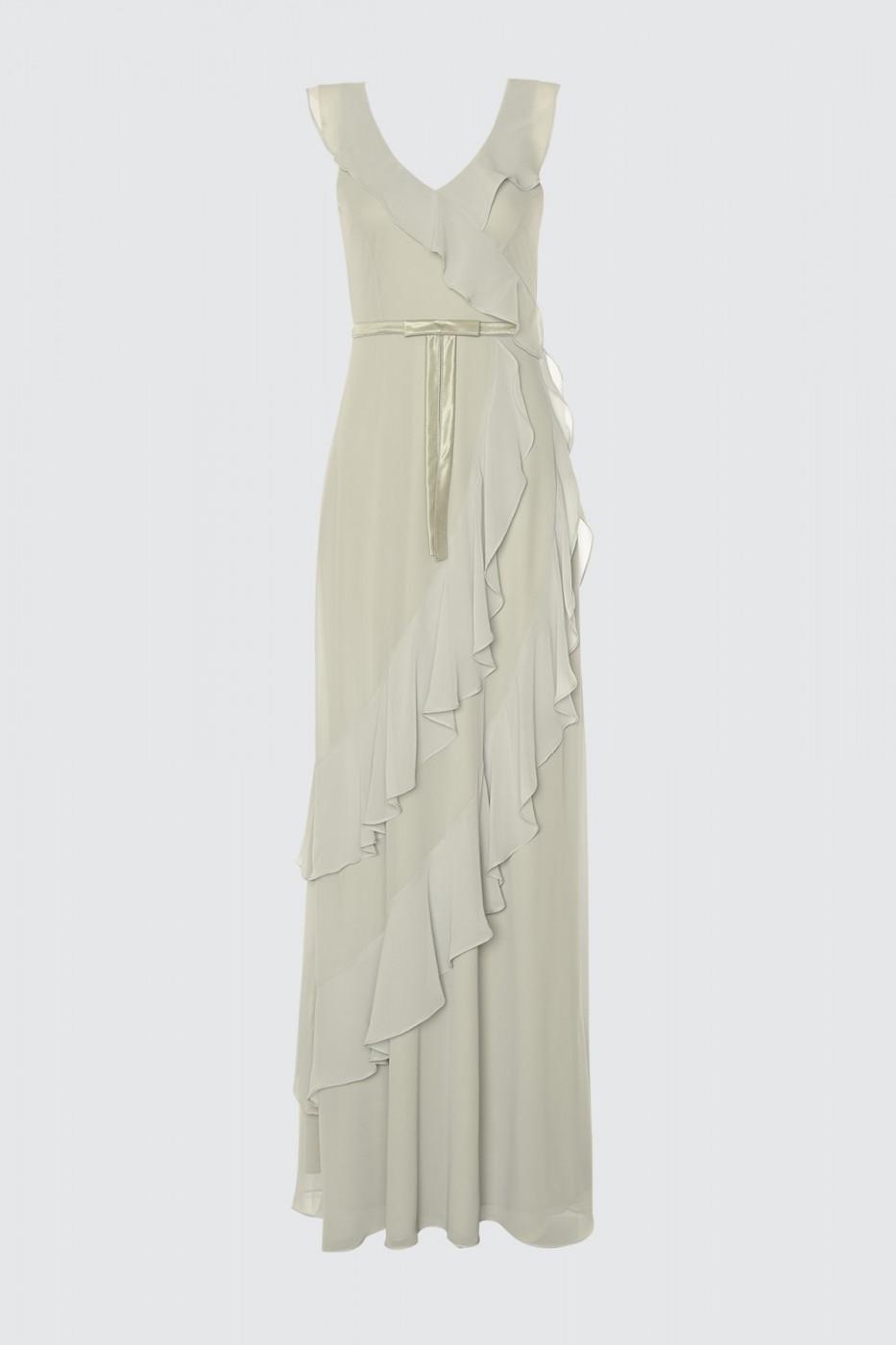 Trendyol Grey Frill Detailed Evening Dress & Graduation Dress