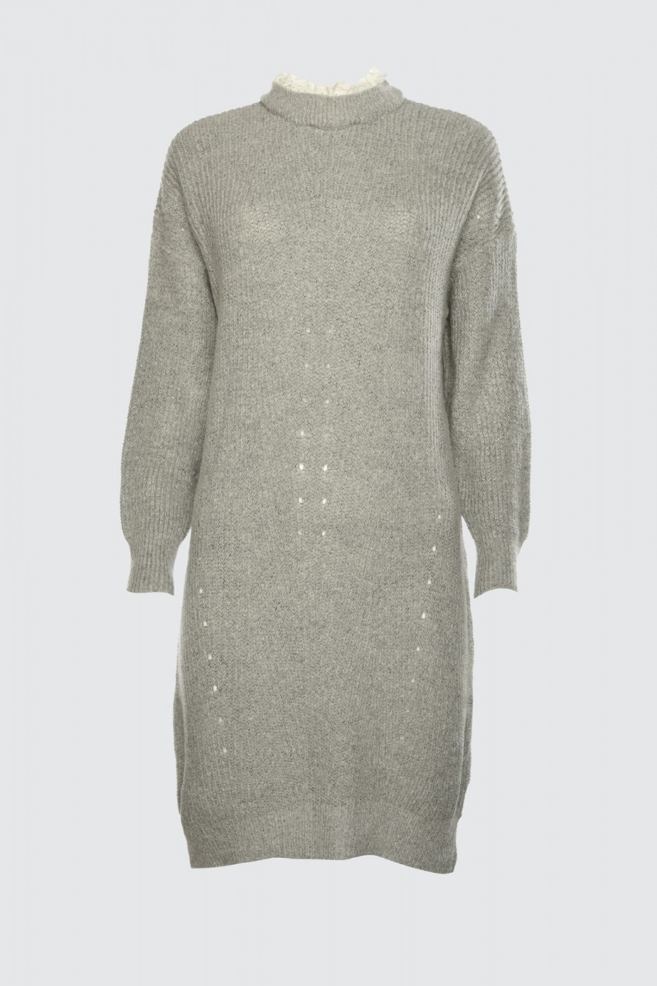 Trendyol Grey Lace Detailed Knitwear Dress