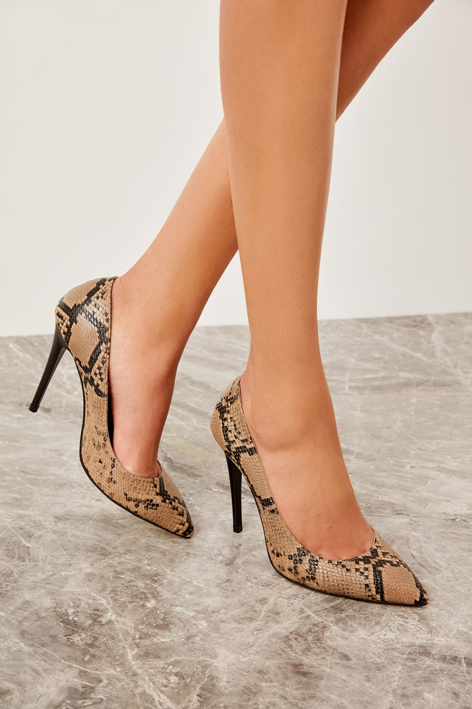 Trendyol Beige Snake-Patterned Women's Wedge-Heeled Shoes