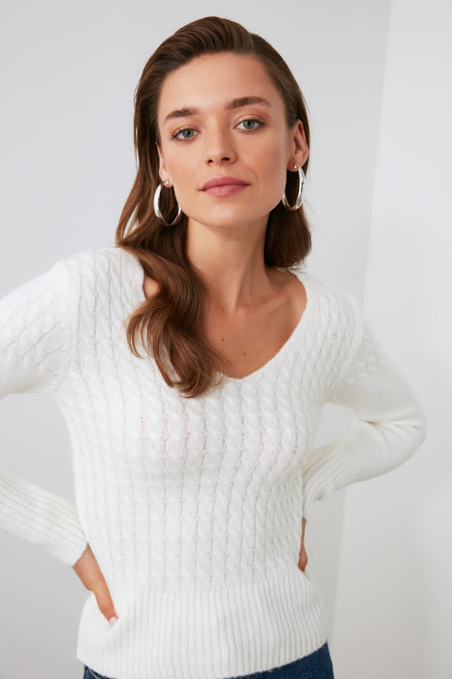 Trendyol Ekru Hair Braid Detailed Knitwear Sweater