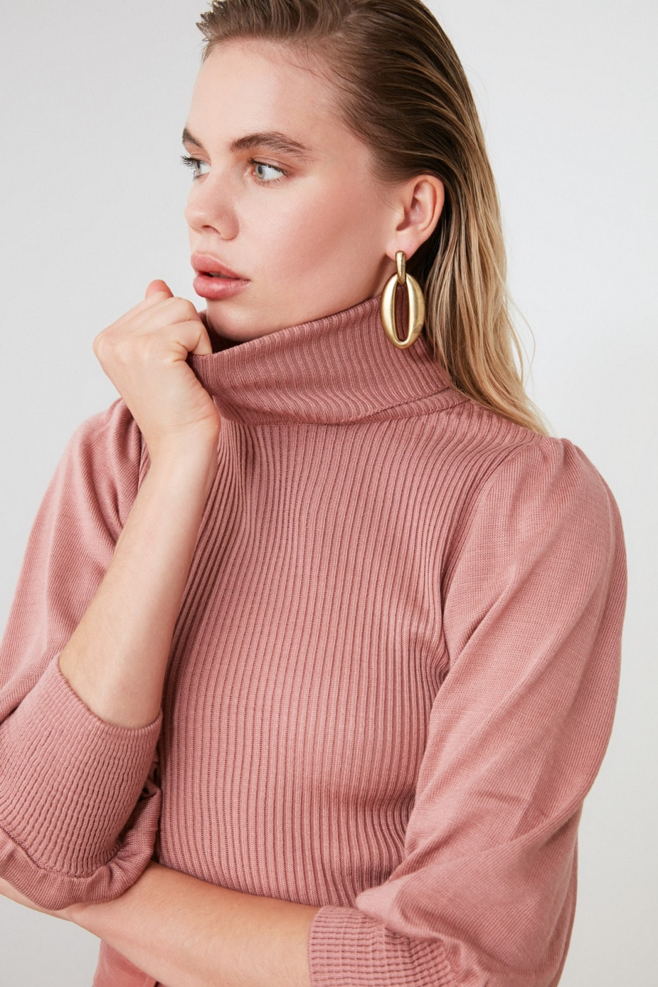Trendyol Rose Dry Balloon Sleeve KnitSweater