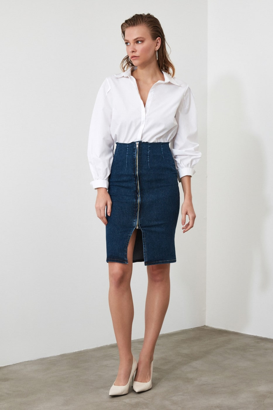 Trendyol Blue Zips Slit Detailed Denim Skirt