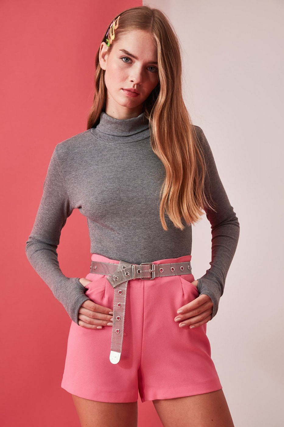 Trendyol Grey Turtleneck Finger Detailed Fitilli Knitted Blouse