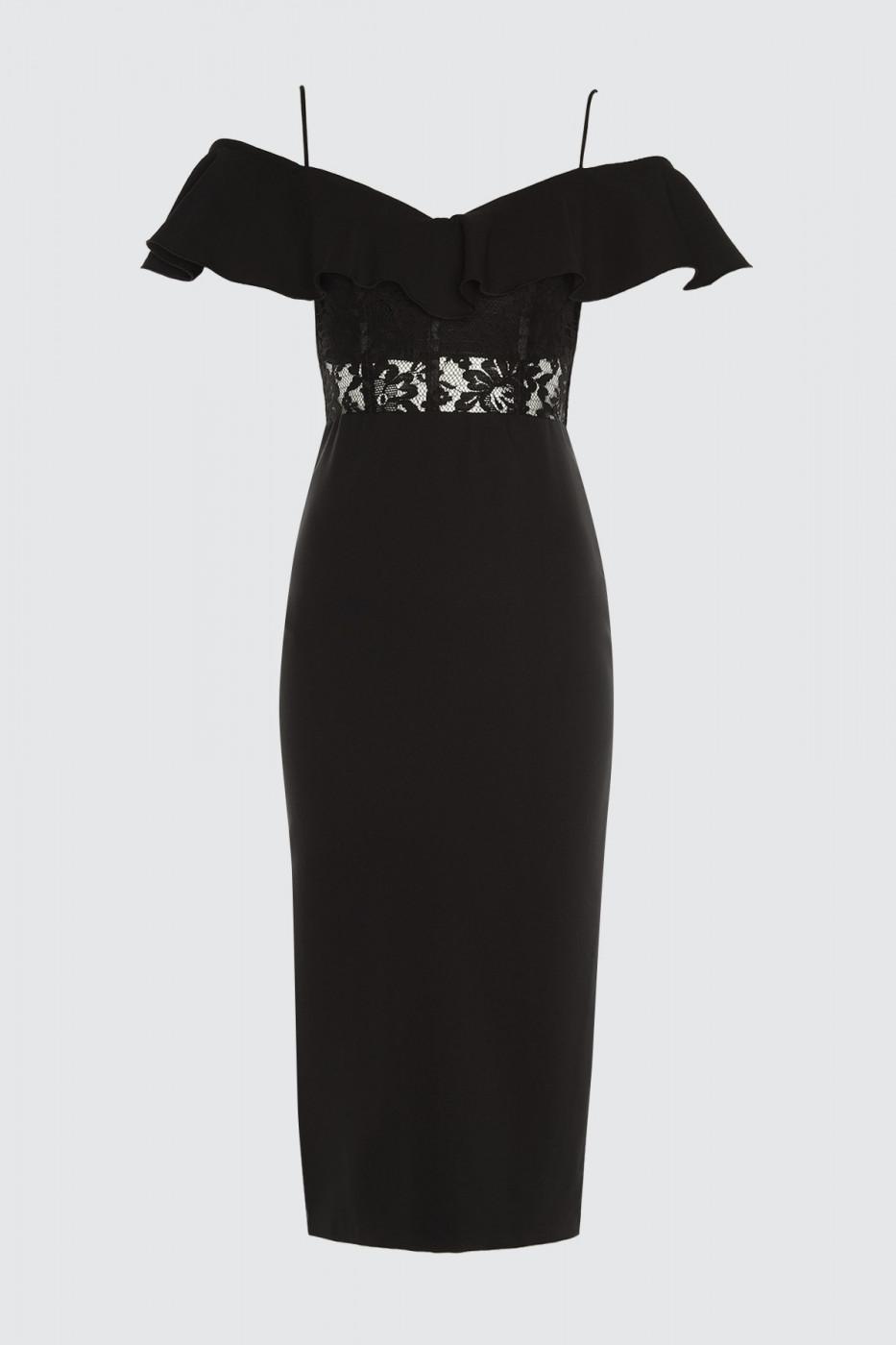 Trendyol Black Lace Detailed Corset Dress