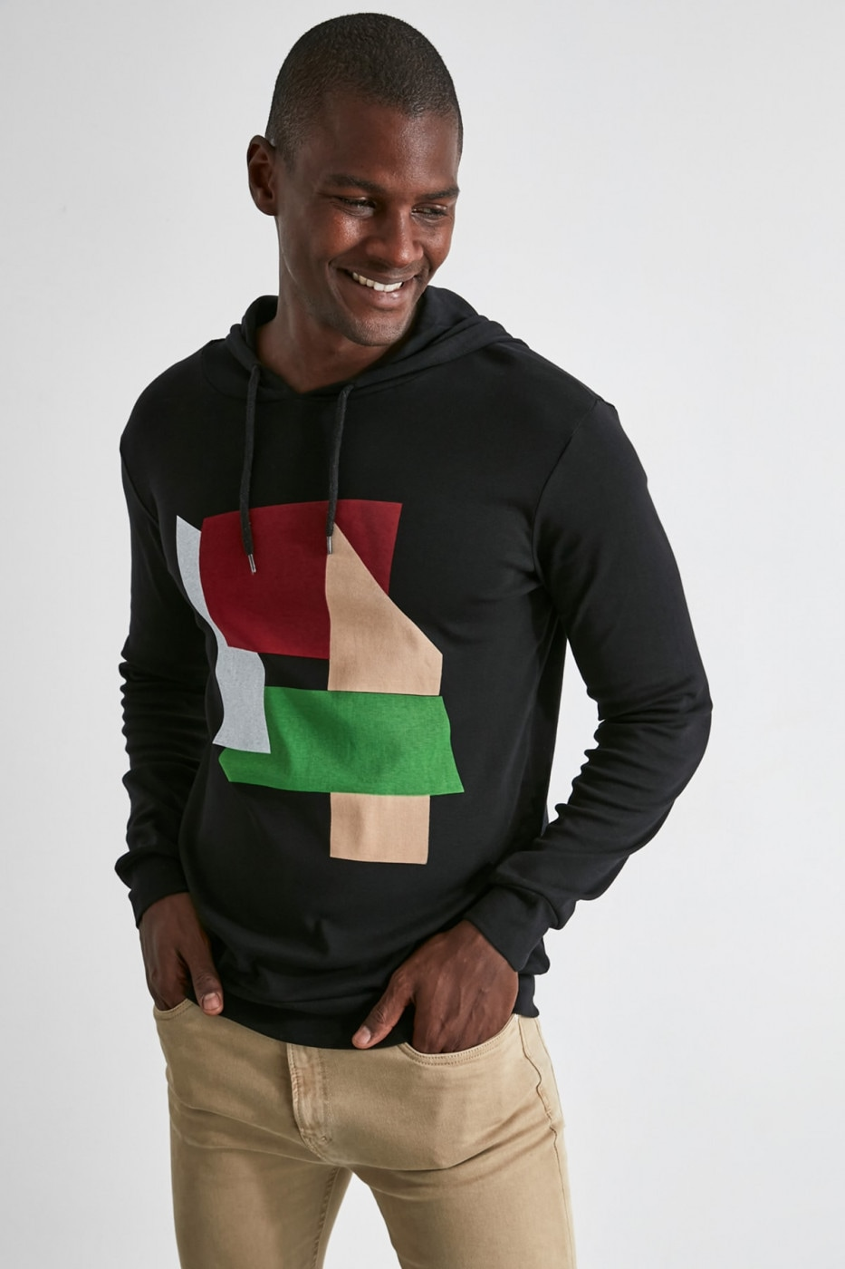 Trendyol Black Men Long SleeveHood T-Shirt