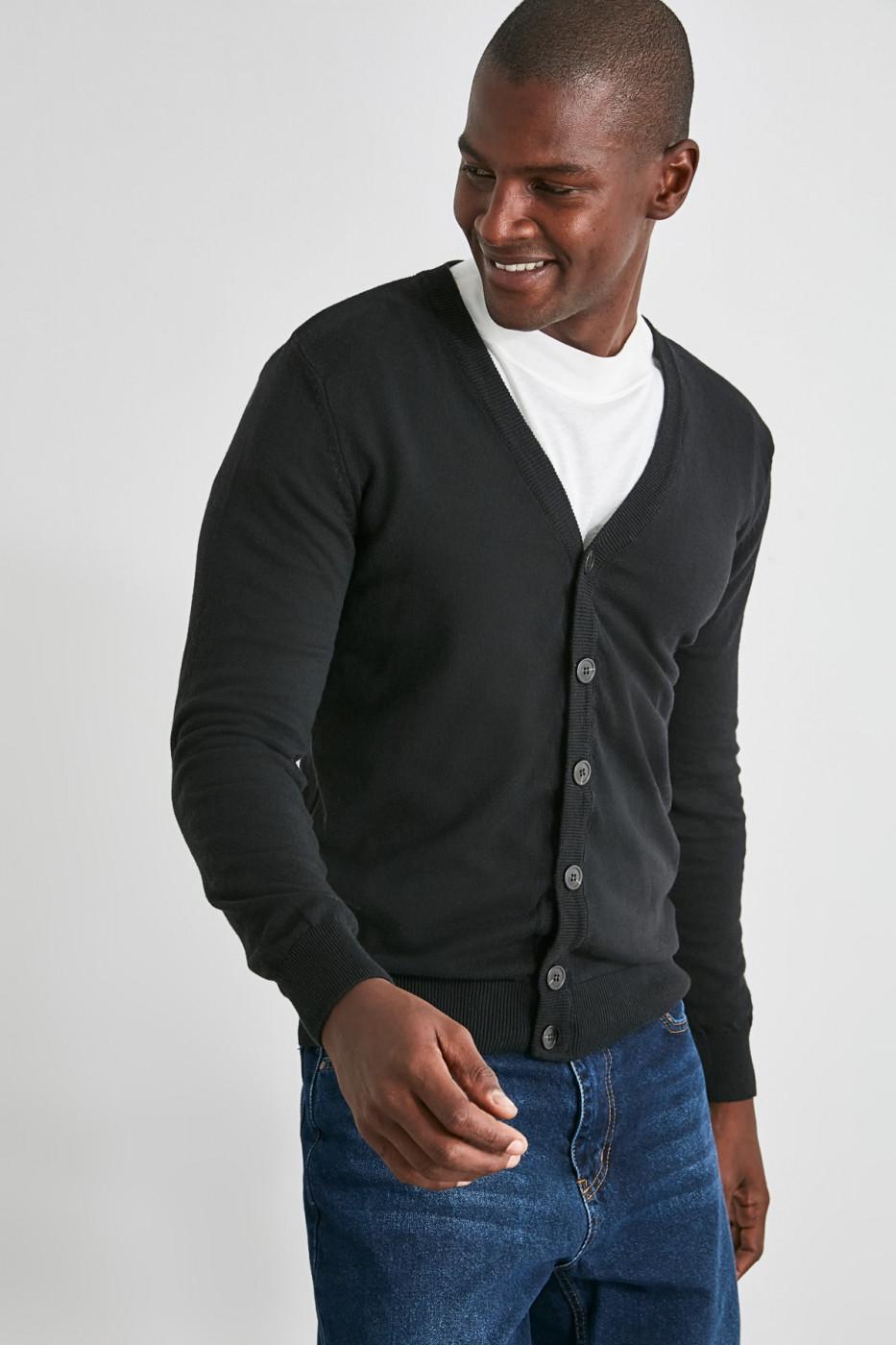Trendyol Black Men V Neck Button Knitwear Cardigan