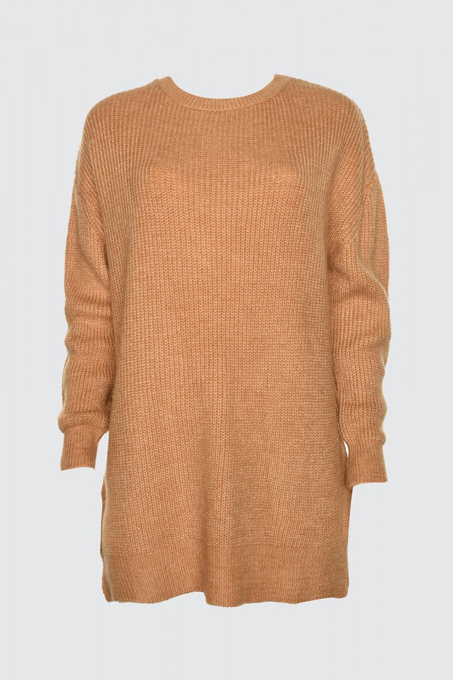 Trendyol Camel Bike Collar Oversize Knitwear Sweater