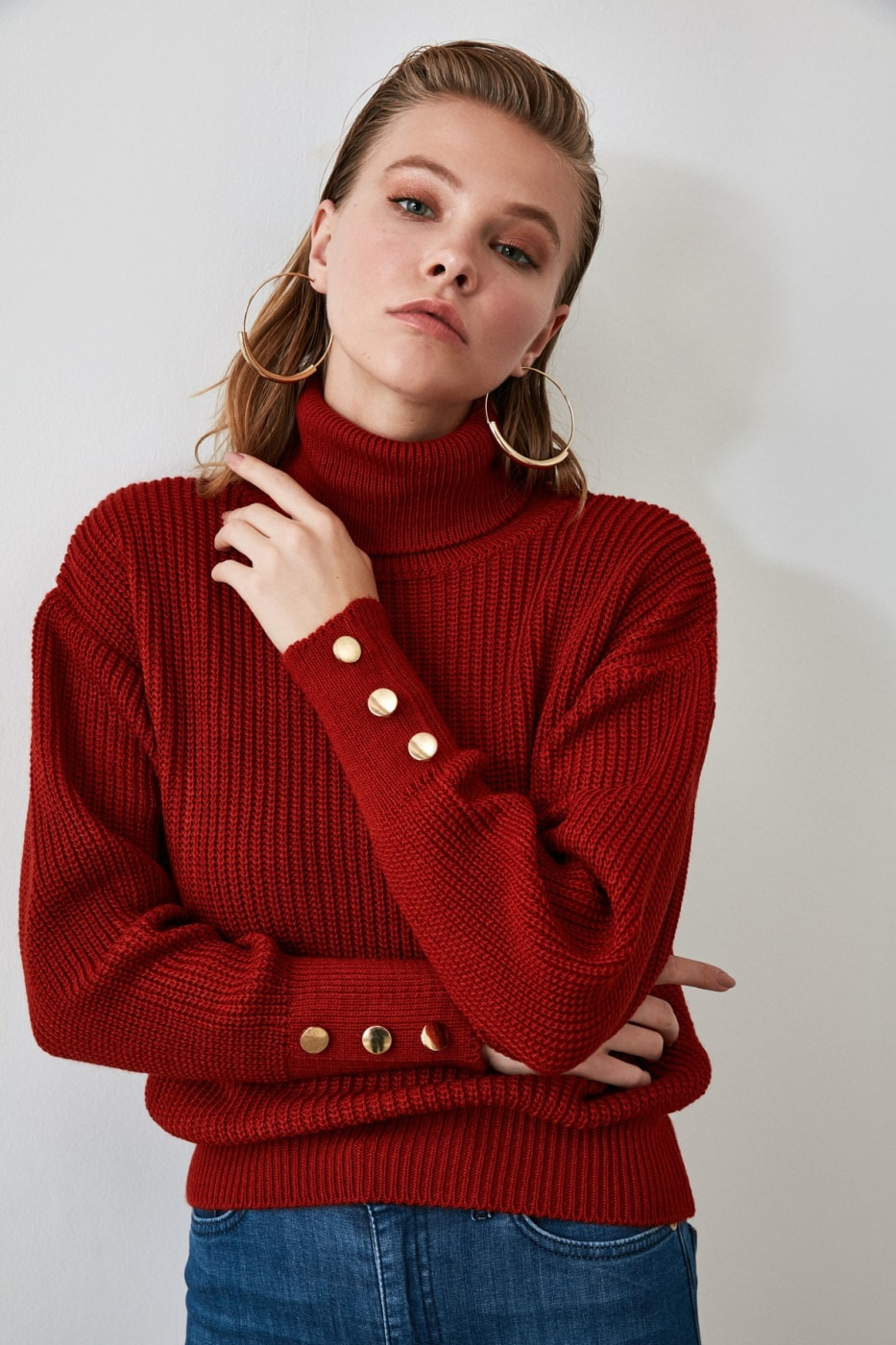 Trendyol Tdare Button Detailed Knit Sweater