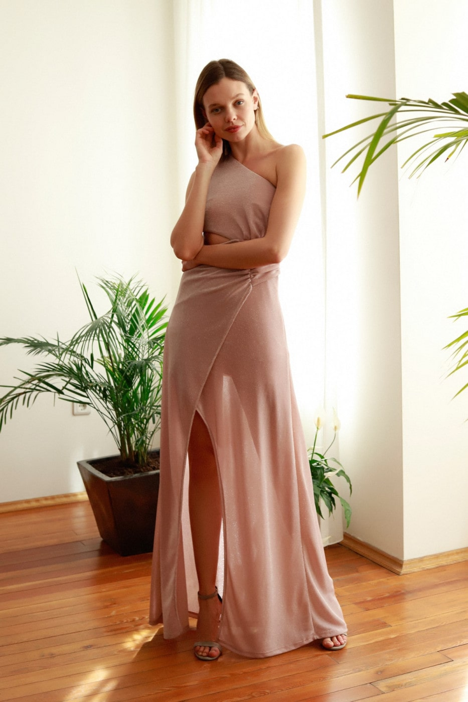 Trendyol PowderEd Waist Decolletage Detailed Evening Dress & Graduation Dress