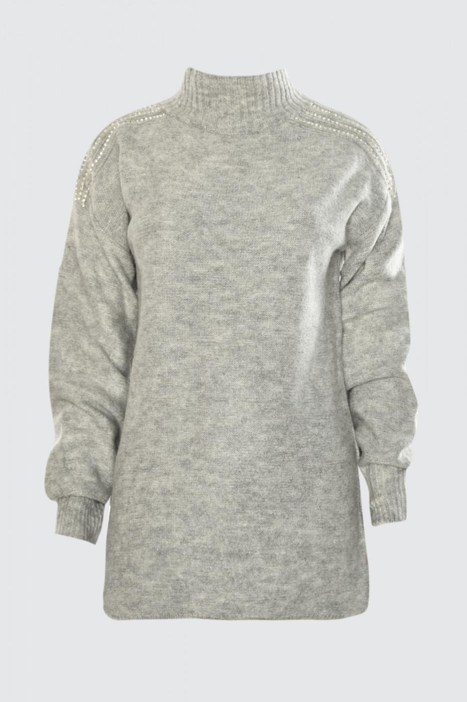 Trendyol Grey Accessory Detailed Knitwear Sweater