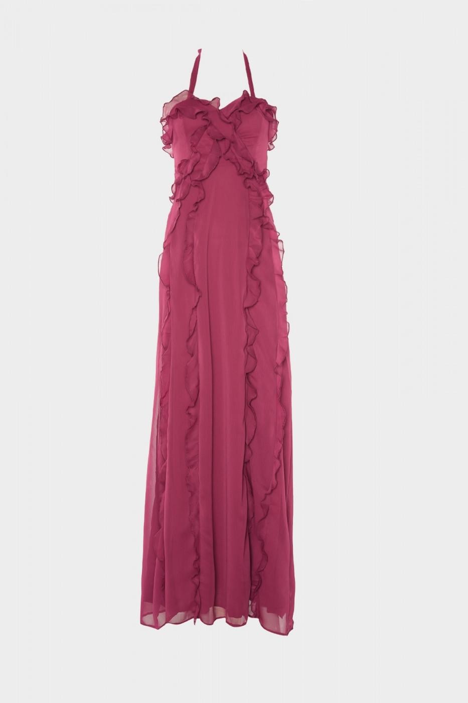 Trendyol Mürdüm Frill Detailed Evening Dress & Graduation Dress